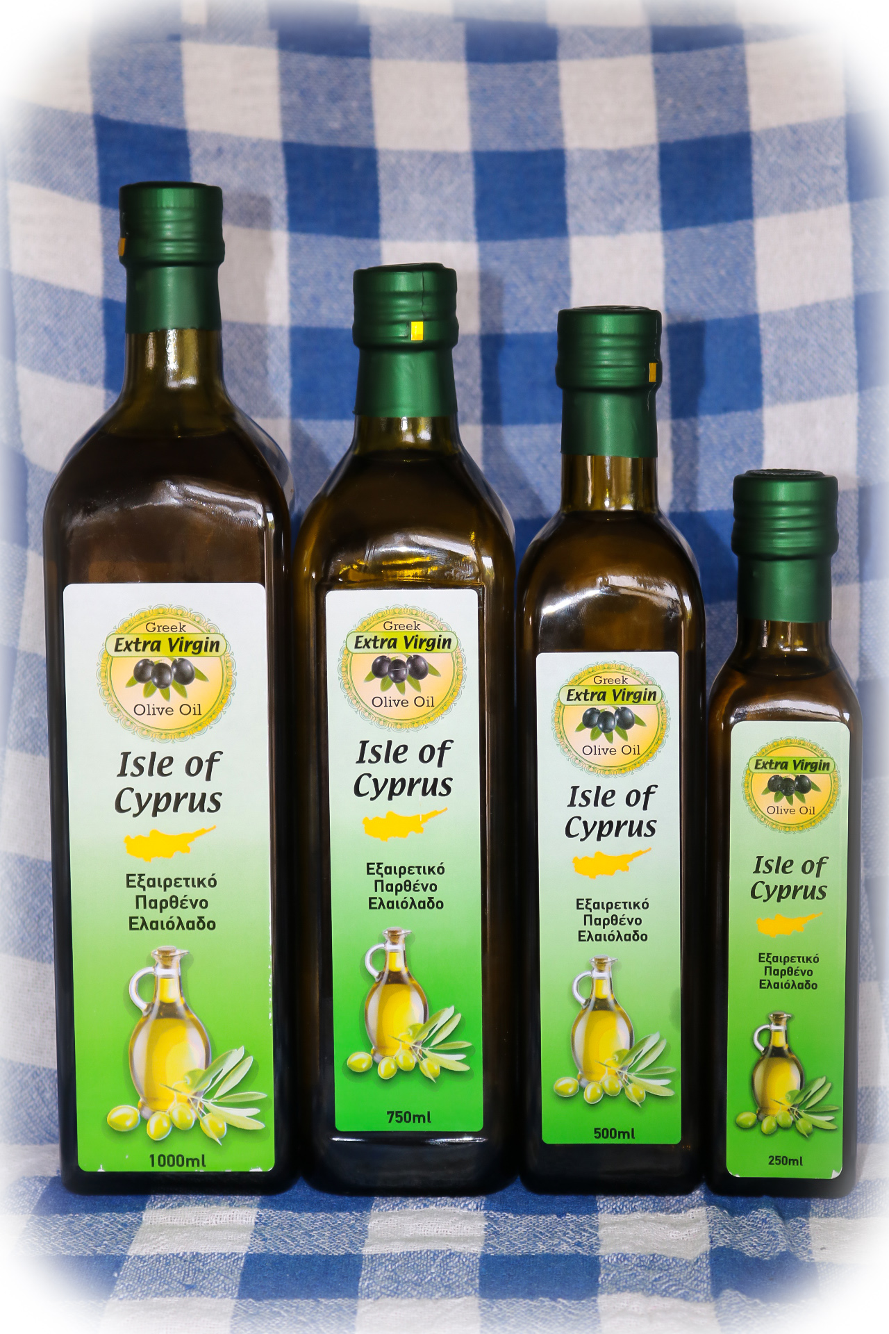 ISLE OF CYPRUS EXTRA VIRGIN OLIVE OIL:  sealed bottles of 1L, 750 ml, 500 ml, 250 ml